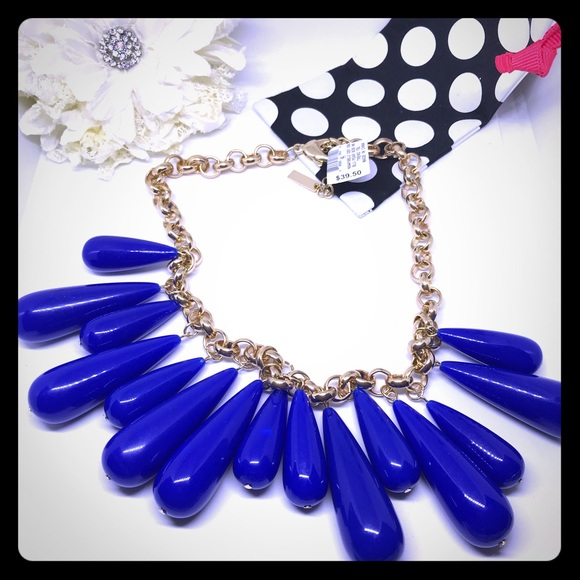 INC Blue and Gold Pear Bob Necklace [JW-30]